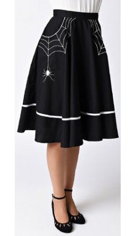 Gasp! Give us this Hell Bunny 1950s Style Black Miss Muffet Embroidered Swing Skirt STAT