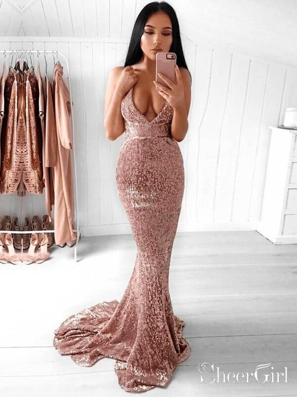 021e34b4435 Sexy deep v neck and backless mermaid sequin prom dress. It can be made in  other colors