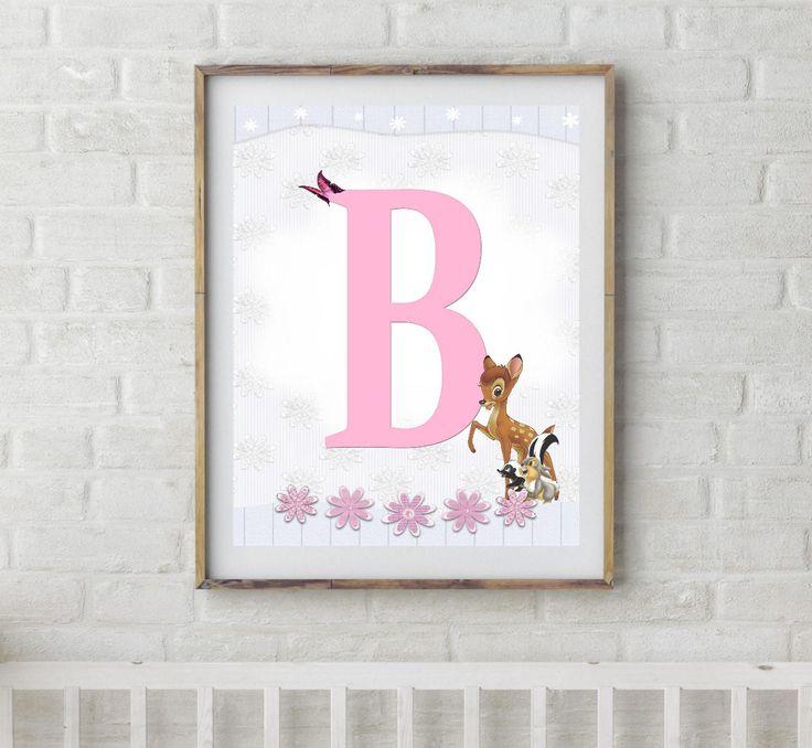 Bambi, Bambi Letters, Letter B, Alphabet Letter B, Bambi Nursery, Baby Initial, Initial Print, Woodland Letter B, Disney Nursery Prints