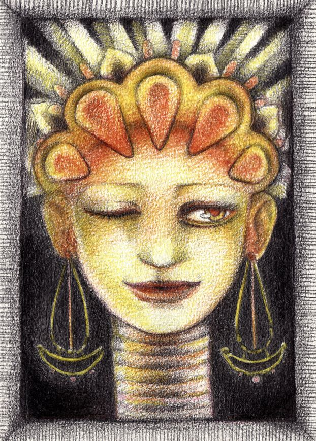 """Illustration Friday 19.08.2016; topic – """"Gold""""; the drawing was made with color pencils."""