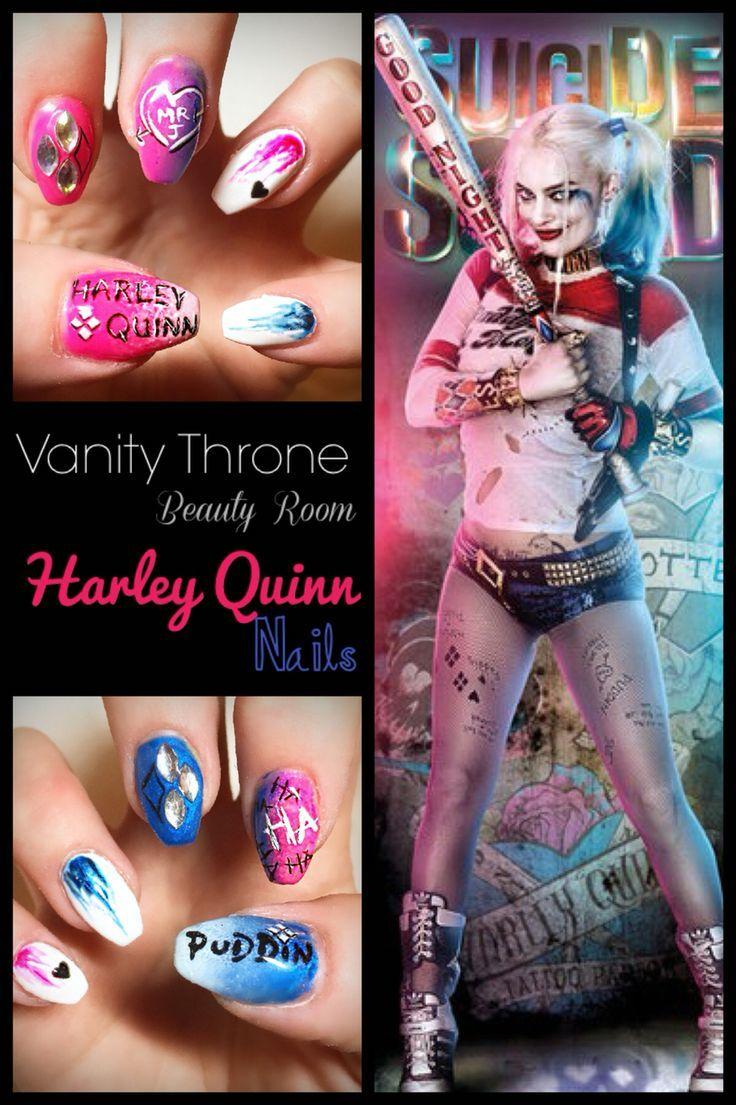 Harley Quinn Suicide Squad Nails Nail Design, Nail Art, Nail Salon, Irvine, Newport Beach