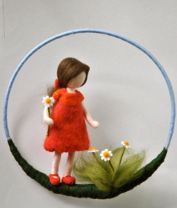 Nursery Mobile Waldorf inspired needle felted : The girl in red with daisy