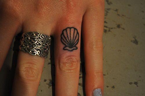 Tiny seashell tattoo. For the mermaid at heart.