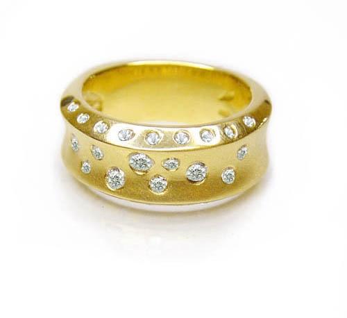 Chibnalls custom Broad Band 18ct gold and Diamond ring