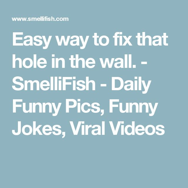 Easy way to fix that hole in the wall. - SmelliFish - Daily Funny Pics, Funny Jokes, Viral Videos