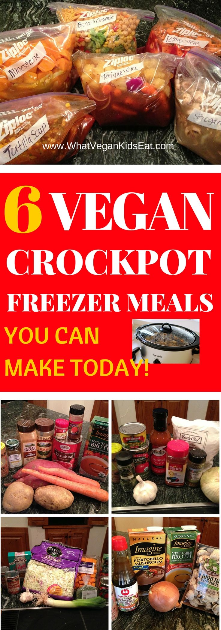 Super Easy Crockpot FREEZER meals that are VEGAN!