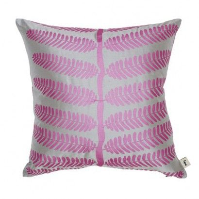 Fern Stem Silk Cushion - Amethyst/ Silver