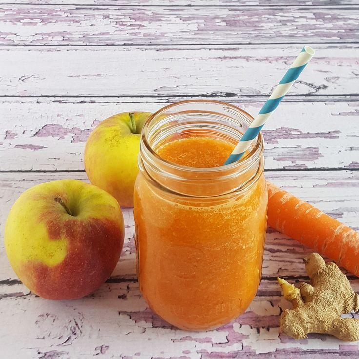 Sapje met wortel, appel en gember - met dit warme weer is een verfrissend sapje heerlijk. Deze variant is lekker fris door de combinatie van appel, gember en wortel.