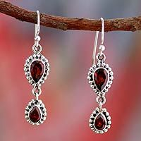 Garnet Earrings in Sterling Silver from India ~ Love Song from @NOVICA, They help #artisans succeed worldwide.