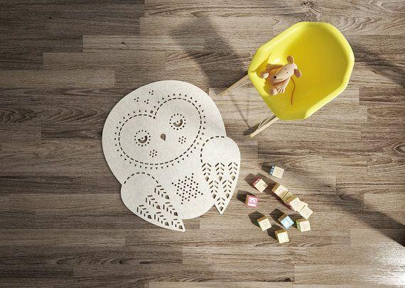 Playroom Rug / Owl Rug / Nursery Rug / Wool Felt rug / Nursery Decor / Cream carpet / Kids Room Rug / Made to order