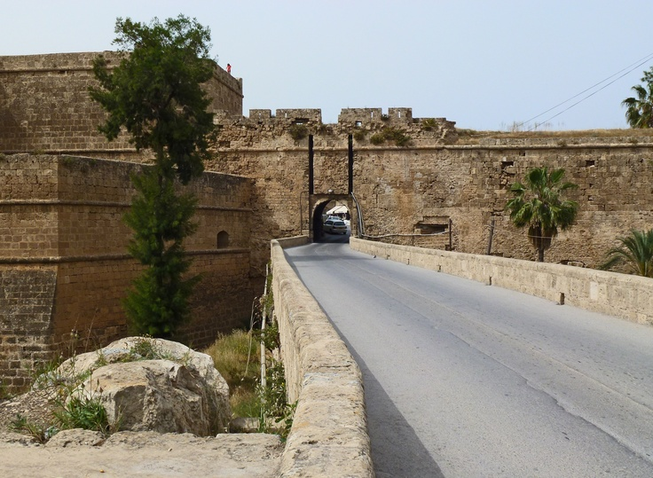 Famagusta - roadway over moat surrounding old city, entrance through old gate.