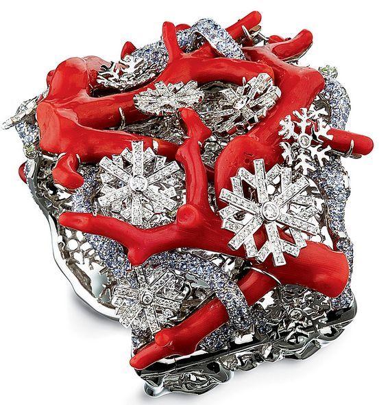 """Lydia Courteille, """"Cabinet de curiosités"""" collection, gold, diamonds, sapphires and coral twigs cuff bracelet"""