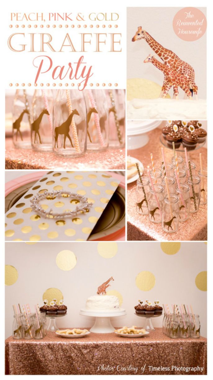 Peach, pink and gold chic giraffe party from The Reinvented Housewife. Glitter sequin table cloth dessert buffet paper straws