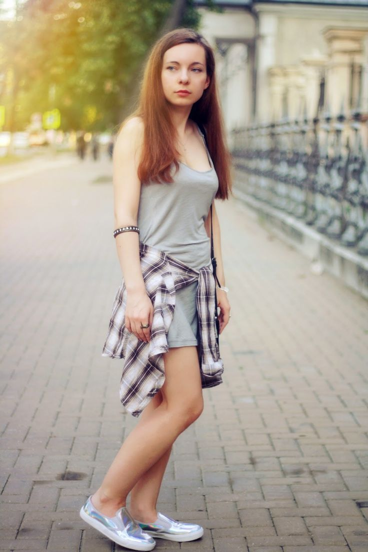 #fashion #style #ootd #plaid #shirt around waist #top #gray #silver #city #streetstyle #slipons