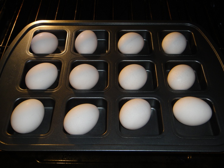 Bake in Oven on 325 for 30 minutes for Perfect Hard Boiled NO STICKING EGGS. Using Pampered Chef Brownie Pan.