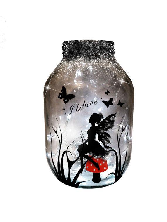 Hand painted Fairy Lantern, candle holder, light jar, night light, wedding centrepiece, MADE TO ORDER.