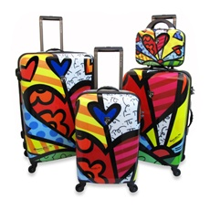 Britto Collection by Heys New Day Hardside Luggage: I love brightly colored luggage and these are light, lined and have spinner wheels. Made of polycarbonate.