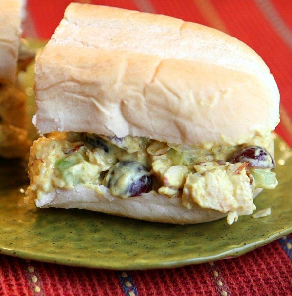 Easy recipe for Chicken Salad Sandwiches with curry, grapes and almonds. Delicious!
