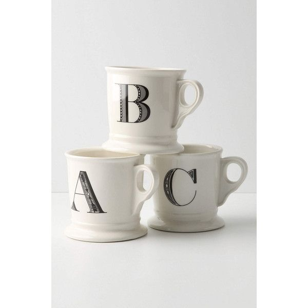 Monogram Mug (€7,28) ❤ liked on Polyvore featuring home, kitchen & dining, drinkware, mug, anthropologie, monogram, coffee, kitchenware, white and monogram mug