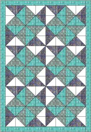 "This big dipper quilt is made using 5"" squares so that you could use a charm pack. It forms a delightful pattern of double pinwheels but is easy to make"