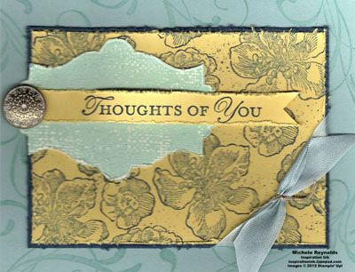 """Handmade thinking of you card by Michele Reynolds, Inspiration Ink, using Stampin' Up! products - Everything Eleanor Set, Loving Thoughts Set, Linen Thread, 1/2"""" Seam Binding Ribbon, and Antique Brads."""