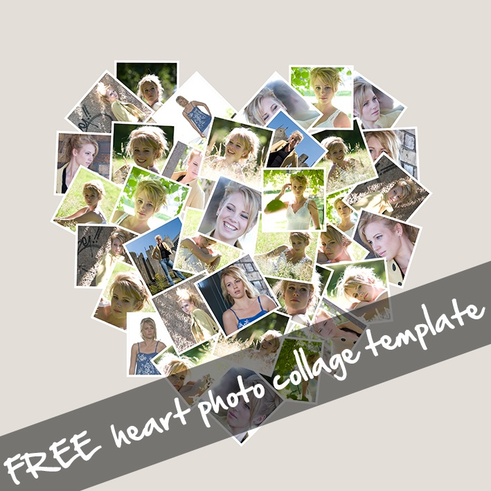 Heart shaped collage template for ps pse 12x12in 300dpi for Free online photo collage templates