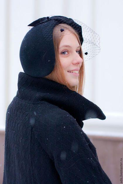 Шляпы ручной работы. Шляпка менингитка «вуалетка с бантом». Наталия Эдис. Ярмарка Мастеров. Менингитка, зимняя шляпка, черная шляпа