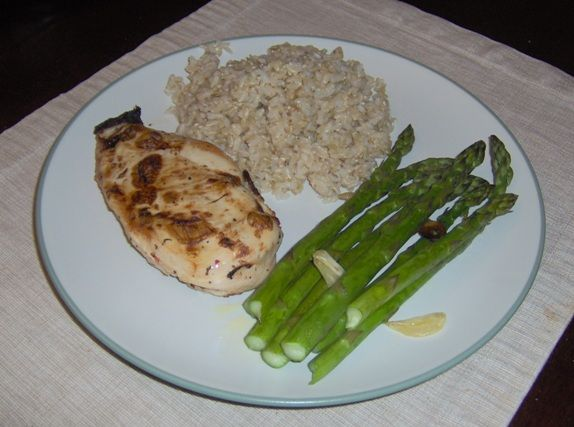 Chicken, brown rice and simple garlic asparagus recipe