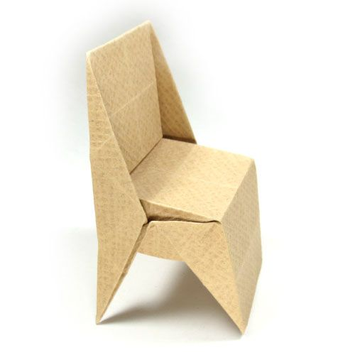 How to make an origami chair with triangular legs (http://www.origami-make.org/origami-chair-triangular-legs.php)
