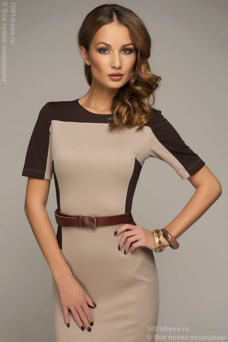 Платье бежевое с коротким рукавом, молнией на спине и вставками MM05067BG , бежевый в интернет магазине Платья для самых красивых 1001dress.Ru