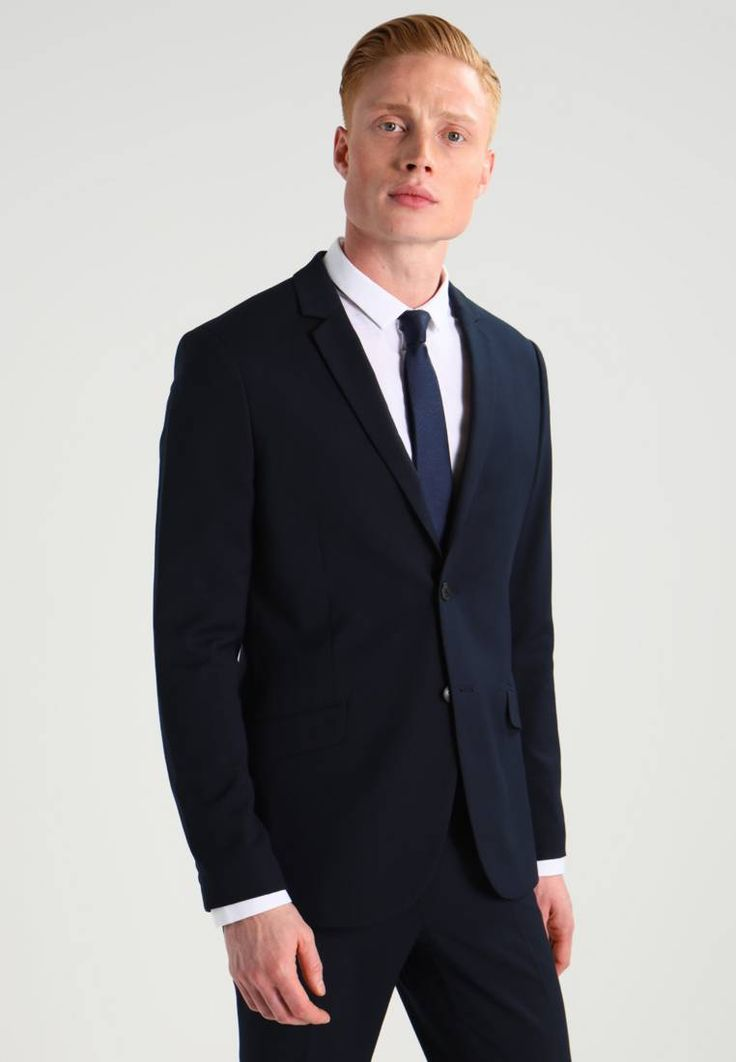 """KIOMI. Suit - navy. Outer fabric material:70% polyester, 28% viscose, 2% spandex. Pattern:plain. Care instructions:Dry clean only. Sleeve length:long,25.5 """" (Size 48). Back width:19.5 """" (Size 48). jacket length:28.5 """"..."""