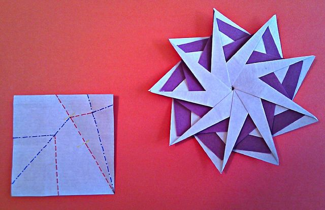 Hans-Werner Guth another nine pointed star + CP - front  9 x 7.5x7.5cm duocolor paper