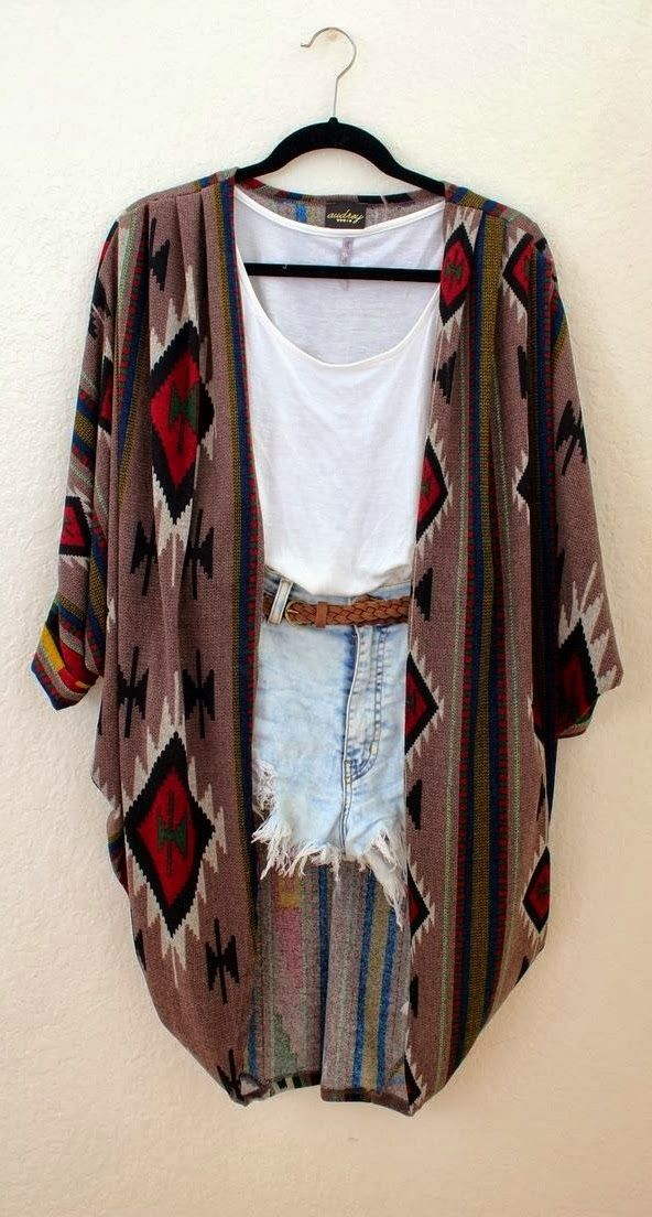 Thin over-size cardigan, white blouse and denim short
