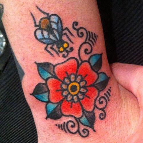 traditional flower tattoo vii