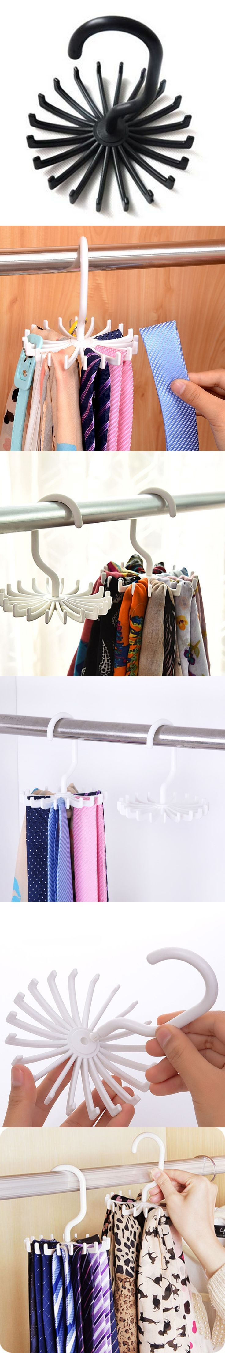 Creative Rotating Adjustable Tie Hanger Holds with 20 Neck Towel hat Organizer hook Hang shelf Plastic Rack
