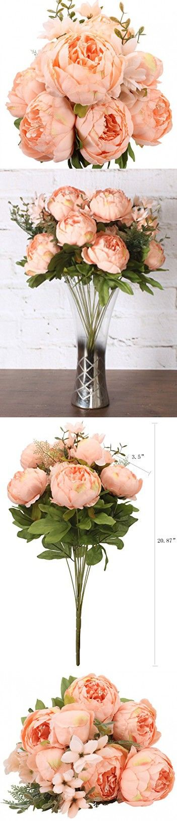 Duovlo Springs Flowers Artificial Silk Peony bouquets Wedding Home Decoration,Pack of 1 (Spring Orange-pink)