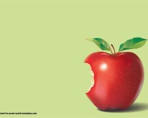 Fondo de Manzana Plantilla Powerpoint con manzana roja fresca