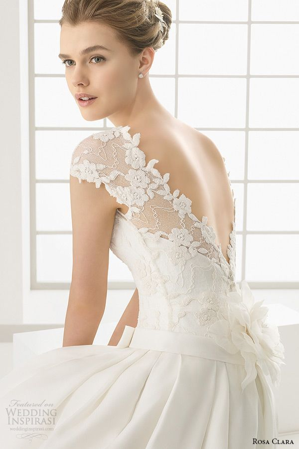 rosa clara 2016 bridal collection bateau neckline short sleeves wedding ball gown with pockets v cut low back dallas -- Rosa Clara 2016 Wedding Dresses Preview