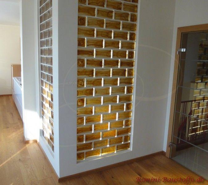 Wand und Fassade #Glasbausteine Pietre di Vetro in der #Farbe Cloud Ambra