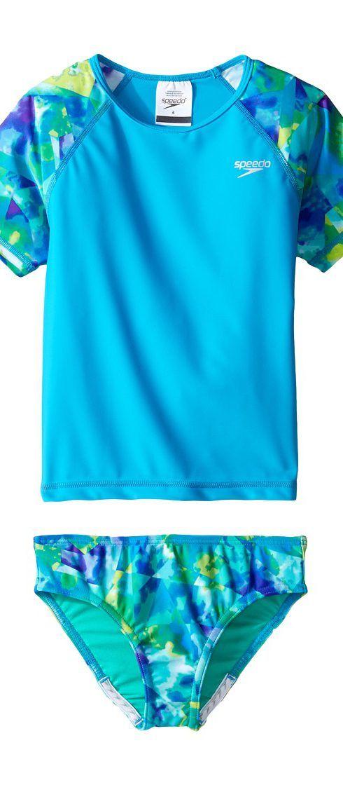 Speedo Kids Short Sleeve Printed Rashguard Two-Piece Swimsuit Set (Little Kids) (Cyan) Girl's Swimwear Sets - Speedo Kids, Short Sleeve Printed Rashguard Two-Piece Swimsuit Set (Little Kids), 7713703-462, Apparel Sets Swimwear, Swimwear, Sets, Apparel, Clothes Clothing, Gift, - Fashion Ideas To Inspire