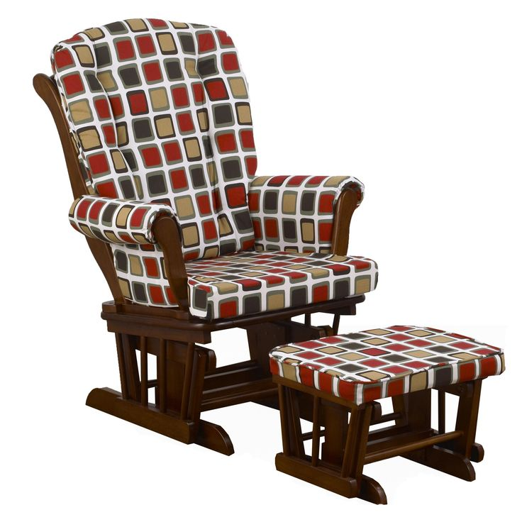 Houndstooth Square Print Glider with Ottoman