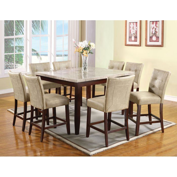 Jaina 9 Piece Pub Table Set Counter Height Dining Table Set Dining Table Marble Square Dining Room Table