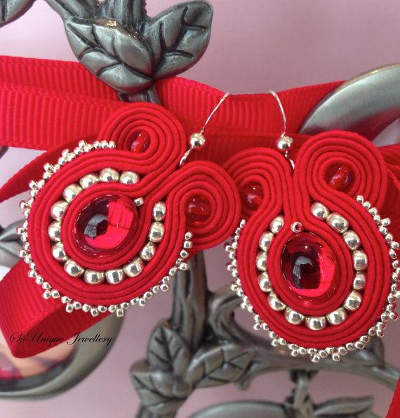 Delicate red soutache earrings by SouniqueJewellery on Etsy, £15.00