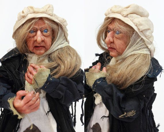 OOAK DOLL POOR old woman handmade art doll by LalkowniaDolls