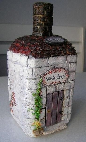 Красивая имитация кирпичной кладки на бутылке  Подробнее: http://www.happy-giraffe.ru/community/24/forum/post/67906/
