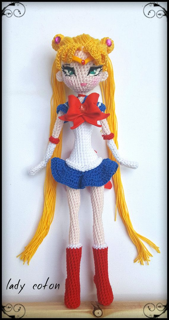 Sailor moon made entirely by hand hook and lug by Ladycotonbyme