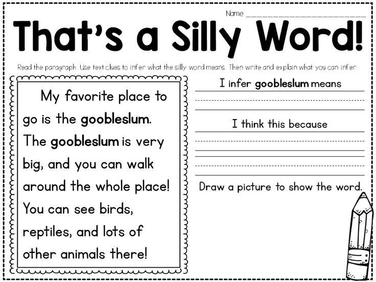 Students infer the meaning of silly words. Great for teaching inferring and context clues