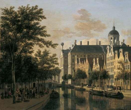 El Nieuwezijds Voorburgswal con el mercado de flores de Amsterdam, 1686 de Gerrit Adriaenszoon Berckheyde en el Museo Thyssen-Bornemisza de Madrid.