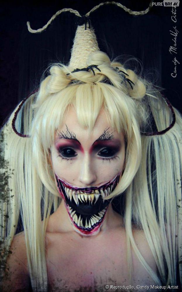 Devil Girl Eye Candy   Isso que é uma maquiagem de bruxa assustadora