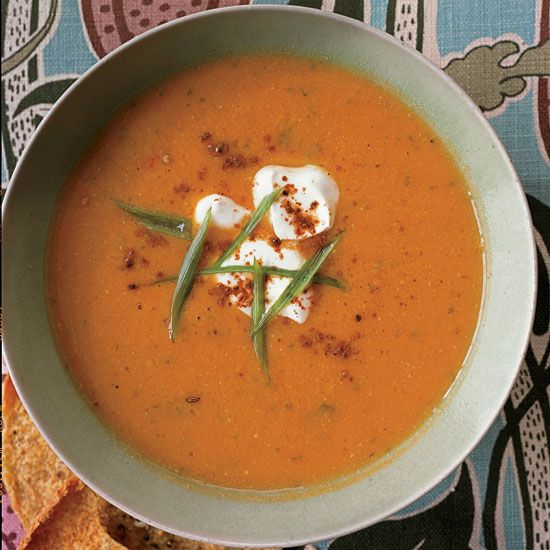 Spicy Chickpea Soup   This Indian-flavored soup is terrifically creamy but cream-free.